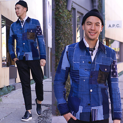 Lucca - Topman Beanie, Club Monaco White Button Up, Club Monaco Navy Flower Handkerchief, Junya Watanabe Denim Jacket, Cos Cropped Tapered Pants, Public School Pebble Leather Lace Ups - Denim on Denim
