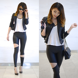 Kerina Mango - Burberry Glasses, Zara Leather Jacket, Lookbookstore Pleather Cut Pants - Black