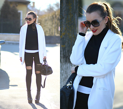 Sandra Bendre - Choies Jeans, Vogue Sunglasses - Black and white