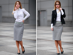 Katarzyna Gorlej - Second Hand Skirt, Mohito Shirt, Reserved Belt, Vero Moda Jacket, Ralph Lauren Glasses - SERIOUSLY?
