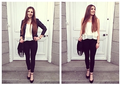 Helen D* - Style London White Cami Top, Asos Black Skinny Jeans, H&M Black Fringed Bag, New Look Black Biker Jacket, Marks And Spencer Black Pumps - * Those Summer Nights *