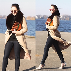 Laura - Zalando Knitted Turtleneck, Anya Woolcoat With Fur Collar, Daniel Wellington   St Mawes Watch, Joni Slim Fit Jeans, Le Specs Honey Cheshire Sunglasses, Tamaris Suede Pumps Grey - CAMEL COAT AND COLORED SUNNIES