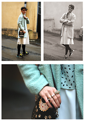 Josefin T - Seinfield Turqoise Jacket, Glitter Babuchka Bag - You pretend it's spring when it's winter