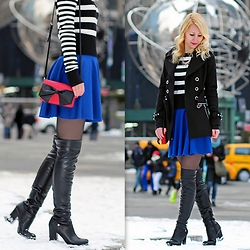 Megan Knight - Kate Spade Crossbody Bag, Guess? Black Over The Knee Boots, Guess? Blue Skater Skirt, Guess? Black Winter Coat, Michael Kors Black And White Striped Sweater - Snow Globe