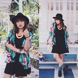 Lexie Puzon - Simone's Fashion Closet Necklace, Mango Bag, Forever 21 Hat, Forever 21 Socks, Forever 21 Black Boots, Cotton On Black Dress, Perfectfitshop Ph Tropical Kimono, Summersoulgypsy Bracelets - Bringing it back to life