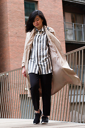 Laura Ngiam - Diva Necklace, Asos Shirt, Primark Trench Coat, Asos Trousers, Nike Sneakers - Let's Get Vertical