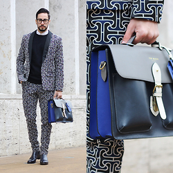 Reinaldo Irizarry - Mr Turk Suit, Ted Baker Bag, Christian Louboutin Boots, Tom Ford Glasses, Forever 21 Sweater - NEW YORK FASHION WEEK: DAY 3