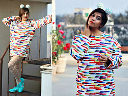 Surbhi Suri - Label Tff Doodle Print Dress, Nike Trainers, Platinum Mall Bangkok Headband - Am I Too Multicolor For U