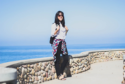 Rachel Park - Forever 21 Striped Button Up, Abercrombie & Fitch Plaid Flannel, Cotton On Distressed Black Jeans, Target Strappy Sandals - BLUE WITHOUT YOU