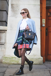 Valeriia Volkova - Zara Coat, Sheinside Sheinside.Com Skirt, 3.1 Phillip Lim Bag - NEAR V&A