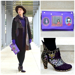 Miss Dee STyle - Desigual Patchwork Coat, Bershka Brown Fedora Hat, Irregular Choice Kitty Themed Ankle Boots, Miss Dee Hand Made Bags Handmade Purple Faux Leather Purse - Urban Bohemian