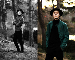 Patrick Pankalla - Rumjungle Leather Jacket, Matinique Turtleneck, Weekday Trousers, Brett & Sons Chelsea Boots, H&M Fedora Hat - Lost Soul In The Woods