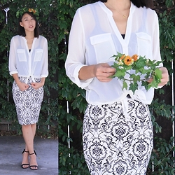 Amy Lai - Michael Antonio Heels, Thecomelycloset Infinity Necklace, Blouse, Skirt - Into The Woods We Go