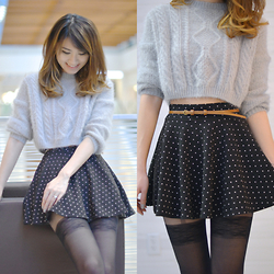 Kerina Mango - Romwe Grey Cropped Sweater, Forever 21 Polka Dot Skirt - 5 Shades of Grey