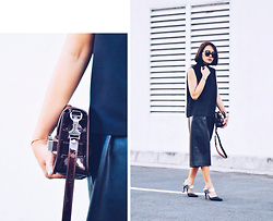 Kookie B. - Proenza Schouler Ps11 Tiny, Leather Culottes, Pointed Mules, High Neck Top - Leather Weather