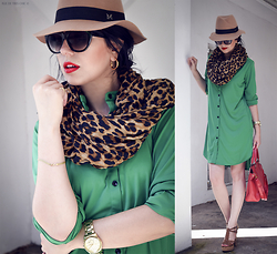 Ivana S - Frontrowshop Green Shirtdress, Oasap Camel Hat - Green