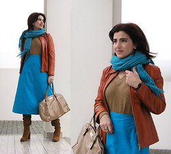 "Teresa Leite - Tany Couture Self Made A Line Midi Skirt, Primadona Turquoise Knit Scarf, Mango V Neck Knit Sweater, Bizarre Orange Leatherjacket (Old), Zara Tan Suede Boots, Mango Patent Tote Bag - ""Why do two Colors, put One next to the Other, Sing?"""