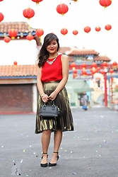 Olivia Yuen - Baublebar Necklace, Zara Romper (Used As A Top), Topshop Skirt, Topshop Bracelet, Zara Bag, Asos Shoes - Vibrant Red, Metallic Gold (Happy Lunar New Year)