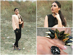Pooja Mittal - Zahra Jani Accessories Spike Bracelet, Zahra Jani Accessories Beaded Ring - Rocker Chic
