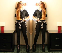 Karen Cardiel - Black Basic Crop Top, H&M Black Basic Leggings, Zara Plaid Shirt, H&M Black Zipper Platform Boots, Lips Sunglasses, Chain Silver Necklace, Ombre Long Hair, H&M Silver Rings - Grunge vibes