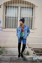 Nicole Kim - Forever 21 Beanie, Abercrombie & Fitch Denim Jacket, Vintage Golf Sweater, Topshop High Waisted Jeans, Aldo Eleliven - Golf