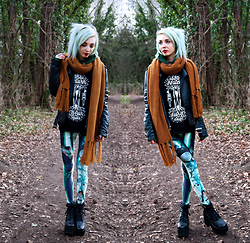 Kimi Peri - Ebay Platform Boots, Poprageous Qinni Ghibli Leggings, Monki Mustard Yellow Scarf, Stay Creepy Clothing 'Roots' Sweatshirt, Unif Americana Moto Jacket - Ghibli Forest Pixie