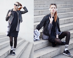 Ebba Zingmark - Topshop Biker, Monki Blazer, Molami Headphones, Nike Sneakers, Adidas Socks, For Good Luck Dress, Like Life Bag - SOMEWHERE ALONG THE WAY