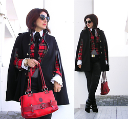 Teresa Leite - Mango Black Cape (Old), Zara Red Tartan Blazer (Old), Mango White Shirt With Frilled Cuffs (Very Old), Black Ribbon Tie (Self Made), Guess? Golden Watch, Cavalinho Red Bag (Very Old), Mango Black Distressed Jeans (Old), Mango Wedge Booties (Old) - Black Cape over Red Tartan Blazer