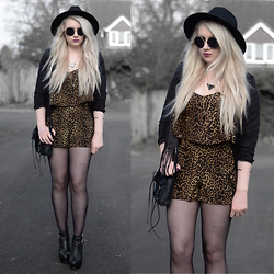 Sammi Jackson - Missguided Fringed Jacket, Boohoo Leopard Playsuit, My Depop Triangle Necklace, Choies Bullet Necklace, Choies Skull Bracelet, Oasap Satchel Bag, Primark Buckle Boots - 2 WAYS TO WEAR A FRINGED JACKET - LOOK 1