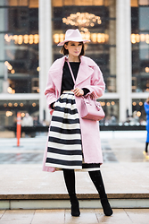 Ania B - Asos Coat, Tibi Skirt, Lack Of Color Hat, 424 Fifth Sweater, Stuart Weitzman Highland Boots - NYFW: Day 3