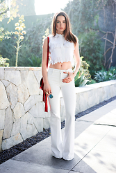 Emma Miller - Sea Sleeveless Fringe Crop Shirt, Frame Denim Le High White Flare Jeans, Ray Ban Icons Blue Mirrored Lens Sunglasses, Gucci Red Nouveau Fringe Suede Shoulder Bag - White Out