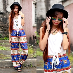 Lyndsay Picardal - Forever 21 Black Hat, Born Pretty Store Rainbow Round Glasses, Summer Soul Gypsy Bull Head Necklace, Forever 21 White Tank Top, Bangkok Pants Elephant Boho Harem, Birkenstock Black Strap Sandals - Elephants