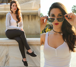 Cristina Z. - Giantvintage Vintage Sunglasses, Bershka White Top, Primark Black Sneakers - - Love her, but leave her wild -