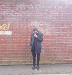 Harry Maddison - Adidas Leather Cap, Worland Jacket, Kenzo Coat, Farah Vintage Trousers, Dr. Martens Shoes - Blackout