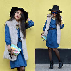 Diana Manolova - Stradivarius Denim Dress, Bershka Furry Vest, Ice Cream Iphone Case, Parfois Yellow Watch, Blue Lens Sunglasses, Pimkie High Heeled Ankle Boots, Six Necklace, Black Hat, Reserved Turquoise Clutch - Ice Cream