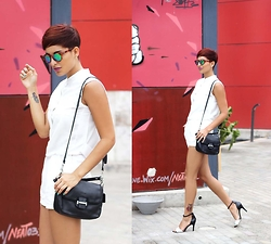 Adriana Seminario - Basement White Strap Stilettos, Coach Black Leather Bag, Zara White Shorts, Anima Dress As Blouse, Mr Boho Sunglasses - Wear White