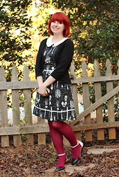 Jamie Rose - So... Black Cardigan, Modcloth Skeleton Anatomy Print Dress, Kmart Magenta Pink Tights, Steve Madden Black And White Flats - Cute Skeleton