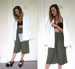 Lauren Rose Bell - Primark White Blazer, Missguided Culottes, New Look Chunky Heels, Primark Grey Clutch, Topshop Bralet - Into The Night