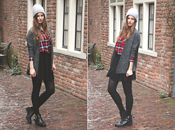 Sanne Van E. - H&M Grey Beanie, H&M Grey Cardigan, H&M Chequered Blouse, H&M Black Skater Skirt, H&M Cut Out Boots - In a backstreet alley