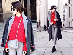 Katu Mikheicheva - H&M Red Sweater, Coccinelle Leather Bag, Topshop Grey Pants, Zara Leather Shoes, Asos Grey Woolen Coat, Thekatherinesshop Fashion Sunglasses - Spring mode on