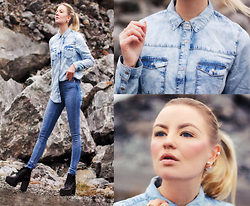Elin Hansson - Denim Shirt, Cheap Monday Jeans, H&M Shoes, Pearl Earrings - I'm longing for a meaning of it all