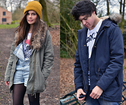 Frances Coyne - Primark Yellow Ribbed Beanie, Label J Navy Parka Coat, Army Of No Country Bambi T Shirt, H&M Khaki Parka Coat, Topshop Light Wash Denim Dungarees - He Wears, She Wears: Parka Coats