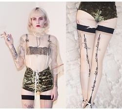 Alanna Pearl - Agent Provocateur Hold Ups, Get Bad Vibes Oluve Juice Groment Shorts, Agent Provocateur Bra - Belated Valentine's