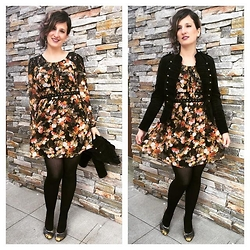 Mary Craig - Forever 21 Black Lace & Floral Dress, Anna Sui Military Jacket, Not Rated Pattern Heels, Clutch Jewels Chandelier Earrings - Darkly Romantic Floral