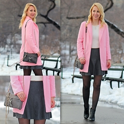 Megan Knight - Sheinside Pink Coat, Sheinside Grey Pleated Skirt, Rebecca Minkoff Mini Mac Bag, Le Chateau Studded Ankle Boots, Dynamite Cropped Sweater - Pretty Pink Coat