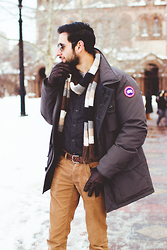 Hector Diaz - Canada Goose Parka, J. Crew Elbow Patched Shirt, Club Monaco Corduroy Pants, Club Monaco Leather Gloves - Boston Snow
