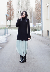 Angela Doe - Urban Outfitters Long Blouse, Edited Pullover, Acne Studios Boots, Rebecca Minkoff Bag - Loose