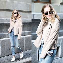 TIPHAINE MARIE - Jacket, Jeans, Sneakers, Sunnies - It's not spring yet.