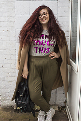 Olivia Lynn - Topshop Sequin Slogan Tee, Asos Khaki Peg Trousers, Missguided Camel Coat, Nike Air Force 1 Mid, Primark Leather Rucksack - Can't Touch This