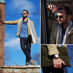 Tomasz Joziewicz - H&M Jeans, East West Jacket, Brothers Scarf, Ben Sherman Shirt, Timberland Shoes, Gant Watch, Ella Ellos Bracelets, L'homme Rouge Laptop Case, Ray Ban Shades - CASUAL FRIDAY